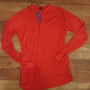 Patagonia capilene red long sleeve henley - small